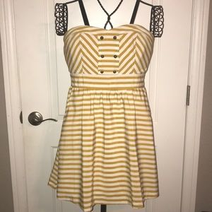 White and Yellow Stripped Dress